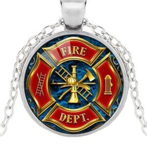 Silver Plated Firefighter Glass Cabochon Necklace